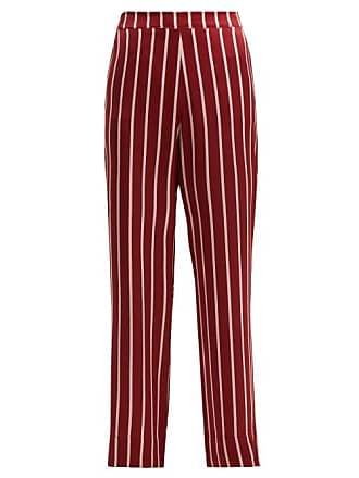 3bdceb0522 Asceno Striped Sandwashed Silk Pyjama Trousers - Womens - Burgundy Stripe