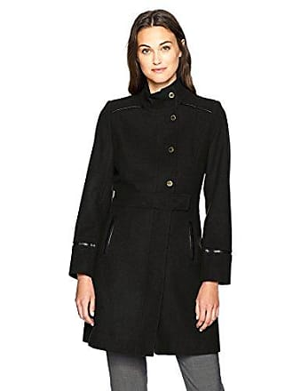 Via Spiga Womens Stand Collar Snap Front Wool Coat, Black 6