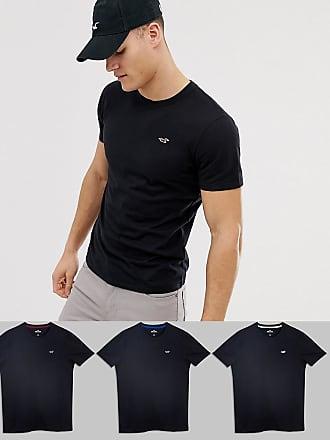 bf2787f2e23c8 Hollister 3er-Pack schwarze T-Shirts mit Rundhalsausschnitt und mehreren  Logos - Schwarz