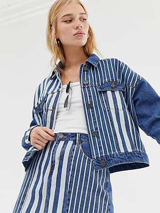 Noisy May Giacca di jeans a righe-Blu