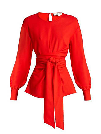 Diane Von Fürstenberg Balloon Sleeve Crepe Wrap Blouse - Womens - Red