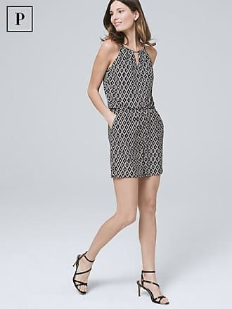White House Black Market Womens Petite Geo Knit Romper by White House Black Market, Black/Ecru, Size XS