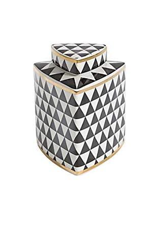 Sagebrook Home Ceramic Triangular Covered JAR, Black/White/Gold, 6.25x6.25x15