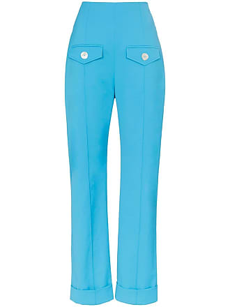 6d18bcf08 George Keburia high-waisted pocket detail straight leg trousers - Blue