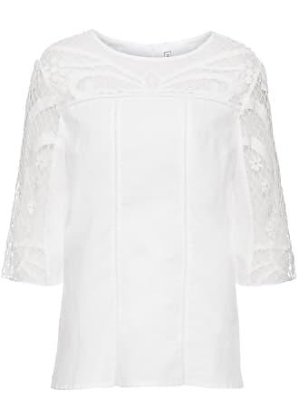 7fb519e61554a4 Bonprix Bluse mit Spitzeneinsatz 3/4 Arm in weiß von bonprix