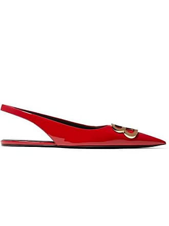c45ac5f56d Balenciaga Knife Logo-embellished Patent-leather Point-toe Flats - Red
