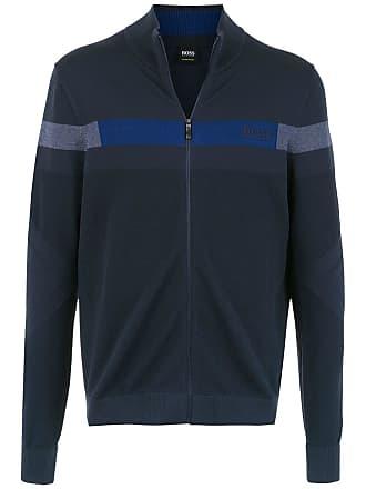 HUGO BOSS Blusa tricô com logo - Azul