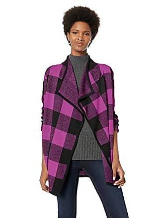 Jones New York Womens Plus Size Plaid Cardigan, Black Dark Magenta 3X