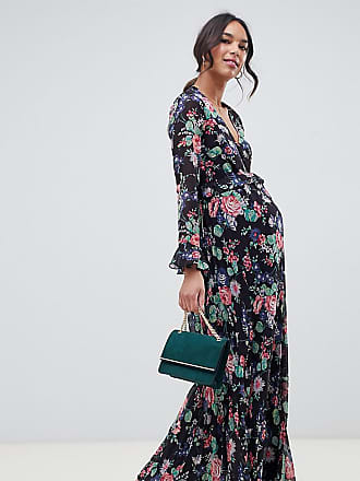 0c36597709300 Asos Maternity ASOS DESIGN Maternity pleated wrap maxi dress with ruffle in floral  print - Multi
