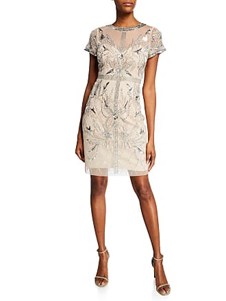 ffdd789bbf6 Aidan Mattox Beaded Mesh Short-Sleeve Illusion Cocktail Dress