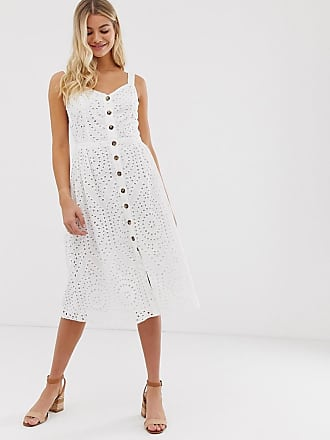 2c48806c3643 Oasis broderie midi dress with button through in white