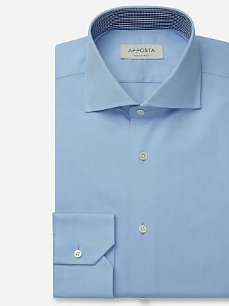 Apposta Shirt solid light blue 100% pure cotton oxford, collar style lower spread collar