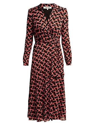 Diane Von Fürstenberg Phoenix Wrap Front Dress - Womens - Black Red
