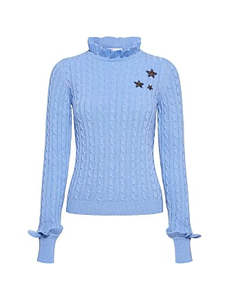 Red Valentino Star High Neck Wool Cable Knit Ruffled Sweater Blue