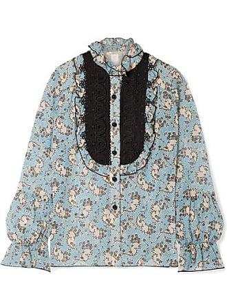 Anna Sui Ruffled Crochet-trimmed Printed Silk-chiffon Blouse - Light blue