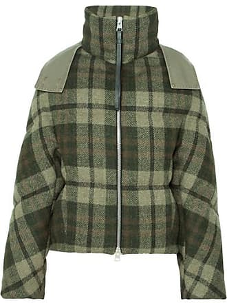 J.W.Anderson Hooded Checked Wool Down Jacket - Army green