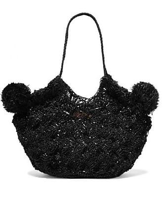 Ulla Johnson Lalo Mini Pompom-embellished Straw Tote - Black