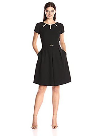 559c90a9b9f6c Ellen Tracy Womens Solid Bistretch Dress with Cutout and Harware Detail  Black, 6