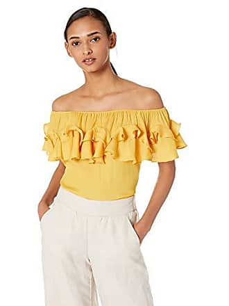 c59f5412abfe72 Halston Heritage Womens Ruffle Off-Shoulder Memory Georgette Top, Marigold,  L