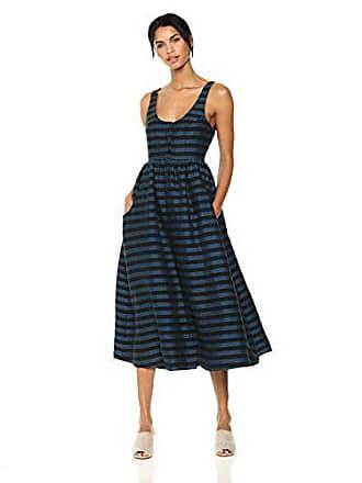 b672f58e0f30 Mara Hoffman Womens Annie Button Down Tank Midi Dress, Umbrella Stripe  Indigo/Black,