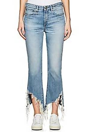 R13 Womens Kick Fit Distressed Crop Jeans - Blue Size 28