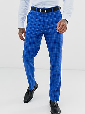 641b4c131a77b4 Harry Brown Wedding - Pantaloni da abito blu acceso a quadri slim - Blu