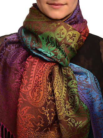 Liss Kiss Mirrored Ombre Paisleys On Brown Pashmina Feel With Tassels - Brown Pashmina Floral Scarf
