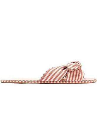 Loeffler Randall Loeffler Randall Woman Shirley Knotted Striped Canvas Slides Antique Rose Size 10.5