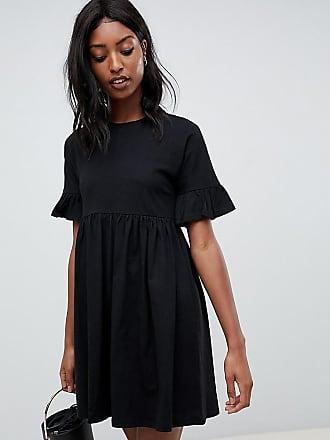 Asos Tall ASOS DESIGN Tall cotton slubby frill sleeve smock dress-Black
