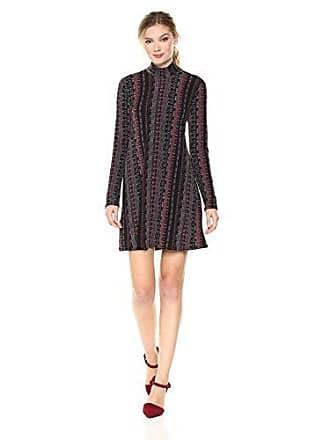 BCBGeneration Womens Long Sleeve A Line Dress, Burgundy Combo L