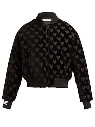 d3bb8d3089d4 Fendi Heart Motif Velvet Bomber Jacket - Womens - Black