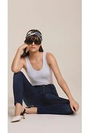Lebôh Calça Skinny Pietra Cos Alto Com Puidos Jeans 34
