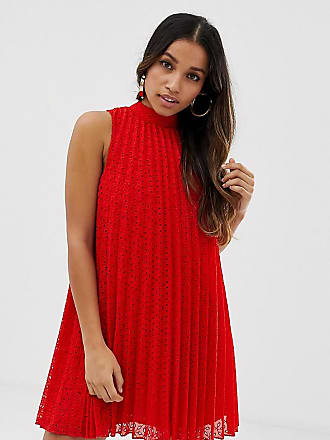 Asos Petite ASOS DESIGN Petite high neck pleated broderie mini swing dress - Red