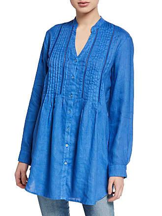 120% Lino Band Collar Button-Front Long-Sleeve Pintuck Linen Shirt