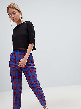 2551478d Asos Petite ASOS DESIGN Petite blue and red check slim trousers