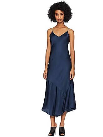 f4182b9867be The Kooples Long Dress with Straps in Satin Viscose (Navy) Womens Dress