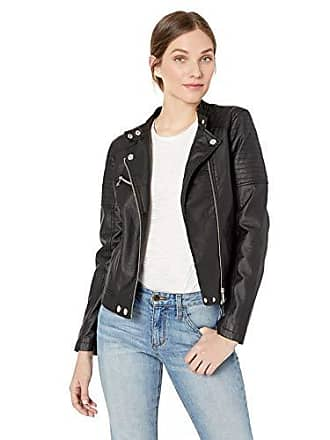Urban Republic Womens Faux Leather Moto Jacket Quilted Sleeve, Black M
