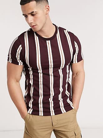 Burton Menswear t-shirt with vertical stripe in burgundy & caramel-Brown