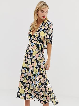 53d5ce0005cbf Liquorish wrap maxi dress with tie belt detail in retro floral print - Multi
