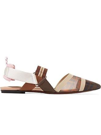 363f71ac2ba8 Fendi Chaussures Plates À Bouts Pointus Et À Brides En Résille Et En  Caoutchouc À Logo
