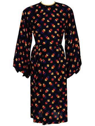 b1bfee0e59 James Galanos 1970s Galanos Colorful Graphic Deco Print Silk Billow-sleeves Cocktail  Dress
