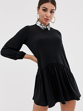 Asos mini smock dress with leopard collar - Black