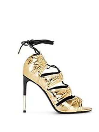 9af93c6a147 Tom Ford Womens Metallic Leather Ankle-Tie Sandals - Gold Size 11