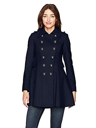 Via Spiga Womens Double Breasted Wool Fit and Flare Skating Coat, Navy, 4