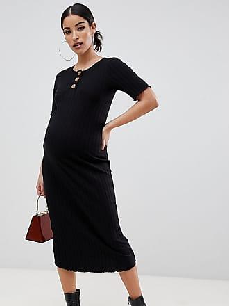 7c69014d14888 Asos Maternity ASOS DESIGN Maternity midi rib bodycon dress with faux horn  buttons - Black