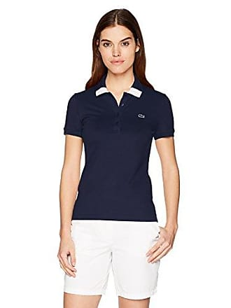 Lacoste Womens Short Sleeve Classic Stretch Pique Fancy Polo, Pf3063, Navy Blue/Flour 8