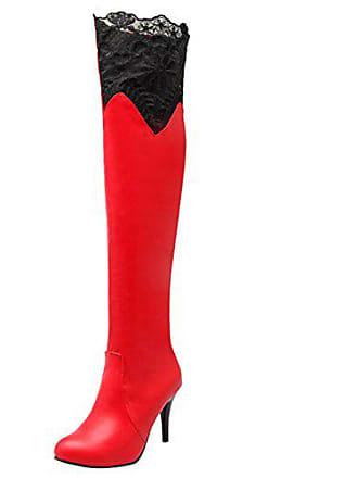be8e727819ce75 Aiyoumei Damen Winter Stiletto Overknee Stiefel mit Spitze und 9cm Absatz  Elegant High Heels Langschaft Stiefel