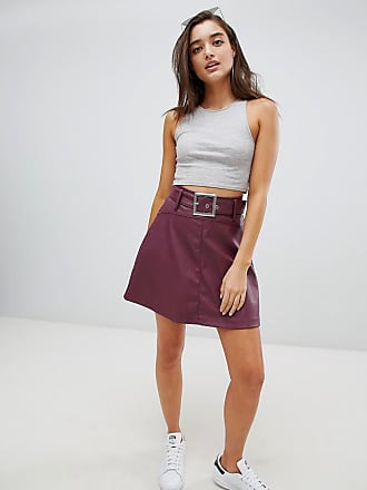 cfda82d62 Asos ASOS leather look mini skater skirt with belt detail - Red