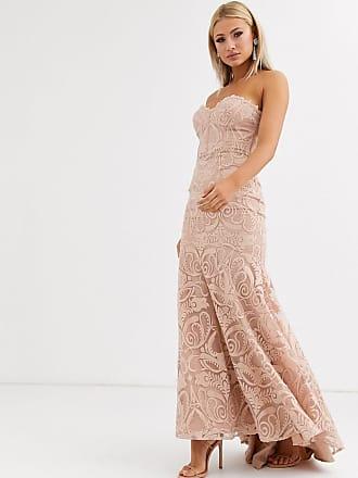 Jarlo Lange kanten bandeau-jurk met borduursel en fishtail in parelmoerroze