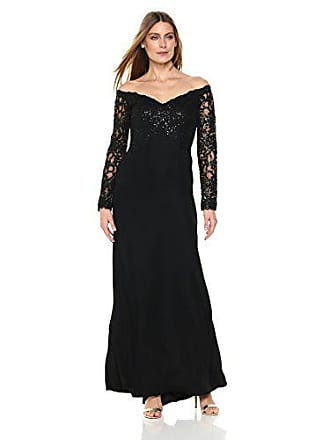 d2e4848c7467 Tadashi Shoji Womens Off Shoulder Sequin Lace Long Sleeve Gown
